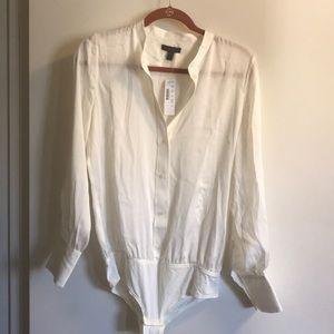 J. Crew Cream Silk Bodysuit Botton down